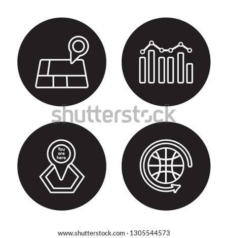 4 linear vector icon set : Geolocation, You are here, Demographics, Worldwide isolated on black background, Geolocation, You are here, Demographics, Worldwide outline icons