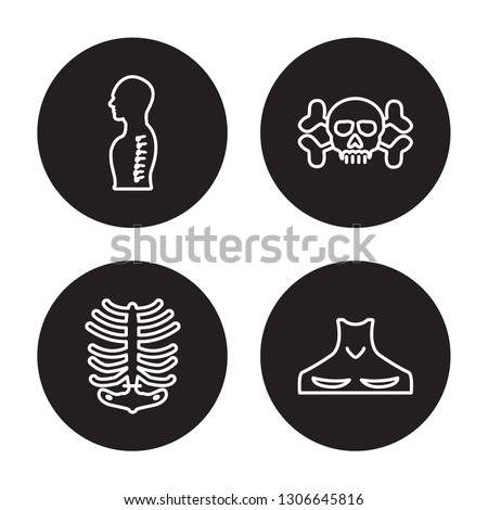 4 linear vector icon set : Human Spine, Human Ribs, Human skull with crossed bones isolated on black background, outline icons