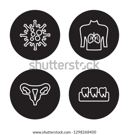 4 linear vector icon set : Immune System, Human Uterus, Human with focus on the lungs isolated on black background, Immune System, Human Uterus, Human with focus on the lungs outline icons