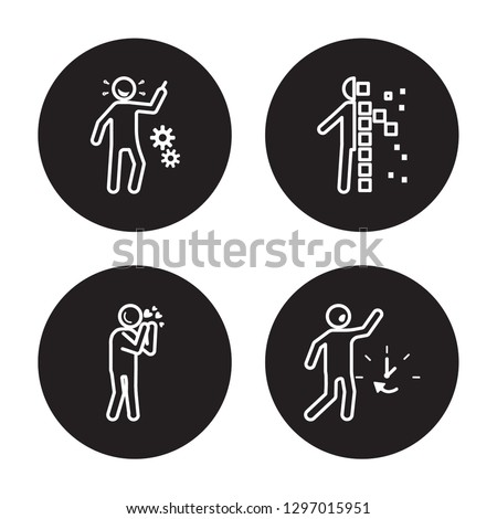 4 linear vector icon set : incomplete human, impatient human, in love human, hurt human isolated on black background,