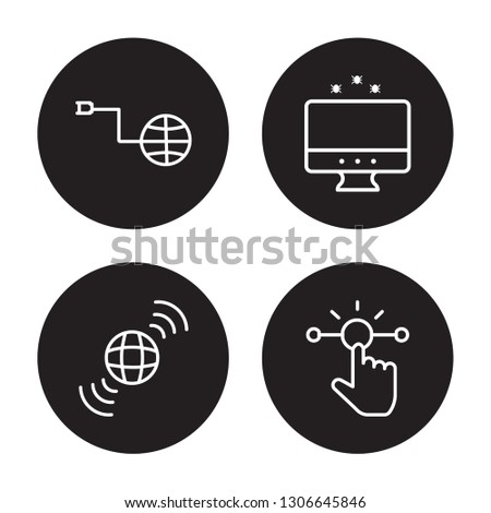 4 linear vector icon set : Internet connection, Internet, internet Attack, Interactive isolated on black background,outline icons