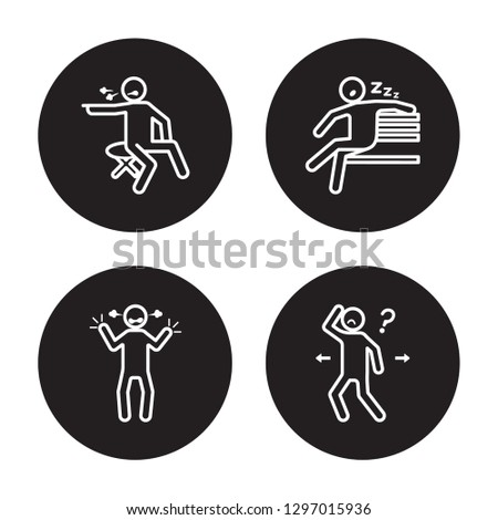 4 linear vector icon set : lonely human, irritated human, lazy human, inspi human isolated on black background,