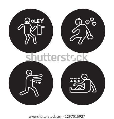4 linear vector icon set : lucky human, loved human, lovely human, lost human isolated on black background,