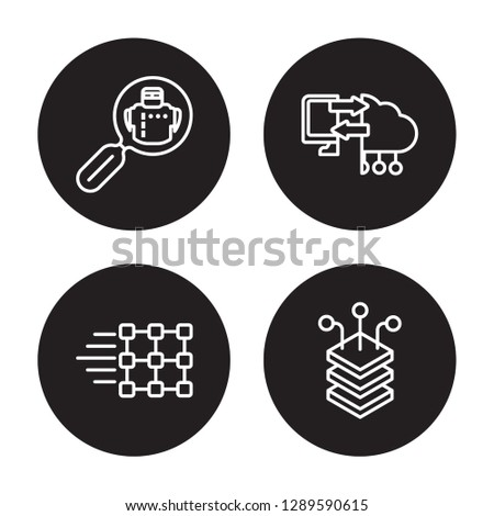 4 linear vector icon set : Microbots, Match moving, Memory transfer, Layers isolated on black background, Microbots, Match moving, Memory transfer, Layers outline icons