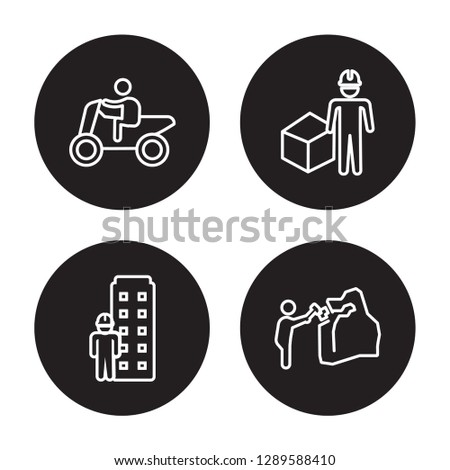 4 linear vector icon set : Motorcycle riding, Model building, Modeling, Mineral collecting isolated on black background, Motorcycle riding, Model building, Modeling, Mineral collecting outline icons