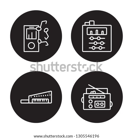 4 linear vector icon set : Mp3, Keytar, Sound mixer, Radio cassette isolated on black background, Mp3, Keytar, Sound mixer, Radio cassette outline icons