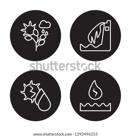 4 linear vector icon set : Nature, Hydro power, Hydroelectric power station isolated on black background, Nature, Hydro power, Hydroelectric power station outline icons