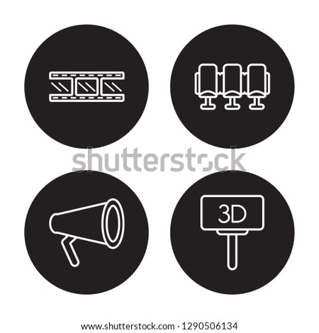 4 linear vector icon set : Negative film, Movie Film, Movie Theater, Movie Billboard isolated on black background,