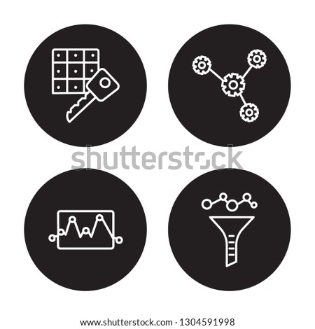 4 linear vector icon set : Passkey, network Monitoring, network optimization isolated on black background, Passkey, network Monitoring, network optimization outline icons