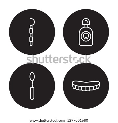 4 linear vector icon set : Periodontal scaler, Mouth Mirror, Mouth Wash, Mouth isolated on black background,