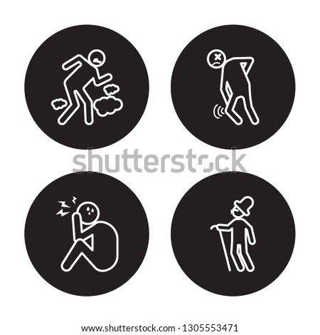 4 linear vector icon set : pissed human, overwhelmed human, pained human, optimistic human isolated on black background,outline icons