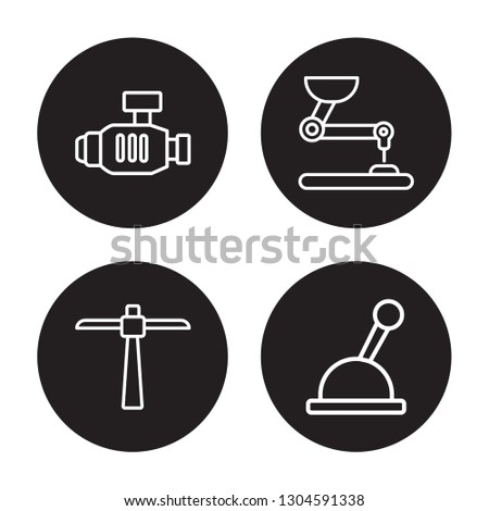 4 linear vector icon set : Pump, Pick, Pushcart, Lever isolated on black background, Pump, Pick, Pushcart, Lever outline icons