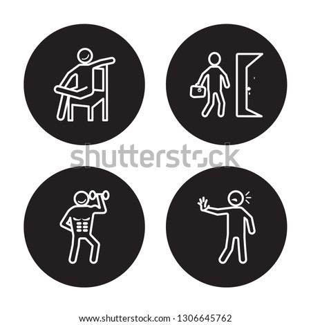 4 linear vector icon set : relaxed human, ready human, refreshed human, pumped human isolated on black background,outline icons