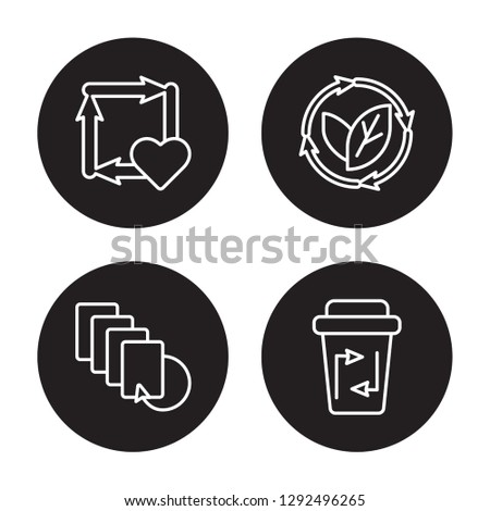 4 linear vector icon set : Reuse, Recycled Paper, Renewable, Recycle bin isolated on black background, Reuse, Recycled Paper, Renewable, Recycle bin outline icons