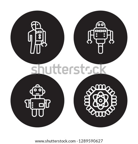 4 linear vector icon set : Robots and humans, Robot, Robot assistant, Quantum computing isolated on black background, Robots and humans, Robot, Robot assistant, Quantum computing outline icons