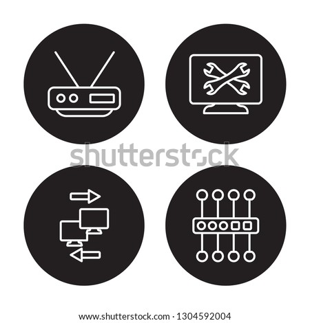 4 linear vector icon set : Router, Remote access, remote support, proxy server isolated on black background, Router, Remote access, remote support, proxy server outline icons