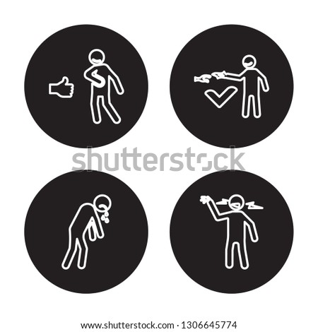 4 linear vector icon set : safe human, rough human, sad human, relieved human isolated on black background, outline icons
