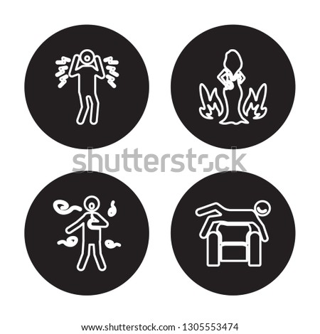 4 linear vector icon set : shocked human, sca human, sexy human, satisfied human isolated on black background, outline icons