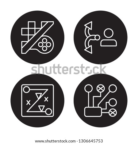 4 linear vector icon set : Strategy game, Strategy, strategy Choice, Strategical planning isolated on black background, outline icons