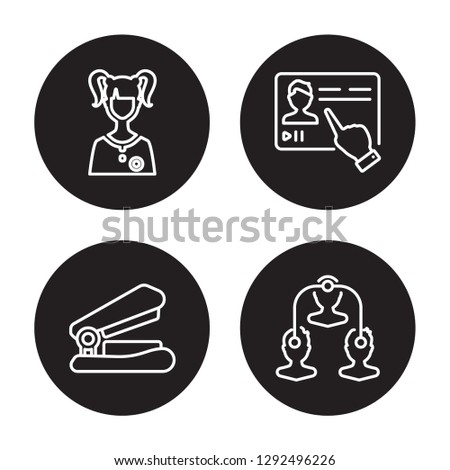 4 linear vector icon set : Student, Stapler, Streaming, Sociology isolated on black background, Student, Stapler, Streaming, Sociology outline icons