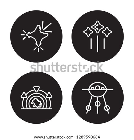 4 linear vector icon set : Supernova, Stargate, Stars, Sputnik isolated on black background, Supernova, Stargate, Stars, Sputnik outline icons