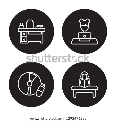 4 linear vector icon set : Teacher desk, Study tools, Studying, Study isolated on black background, Teacher desk, Study tools, Studying, Study outline icons