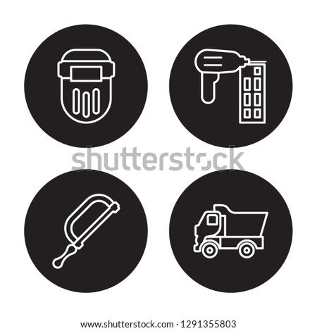 4 linear vector icon set : Welding, Hacksaw, Nail gun, Tipper isolated on black background, Welding, Hacksaw, Nail gun, Tipper outline icons