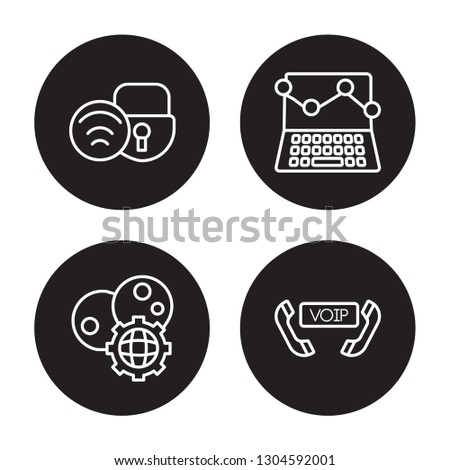 4 linear vector icon set : Wifi security, web Cookies, web traffic isolated on black background, Wifi security, web Cookies, web traffic outline icons