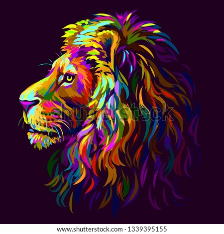 lion abstract  multi colored