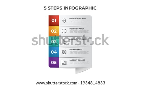 5 list of steps, row layout diagram with number sequence, infographic element template