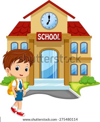 Little boy going to school