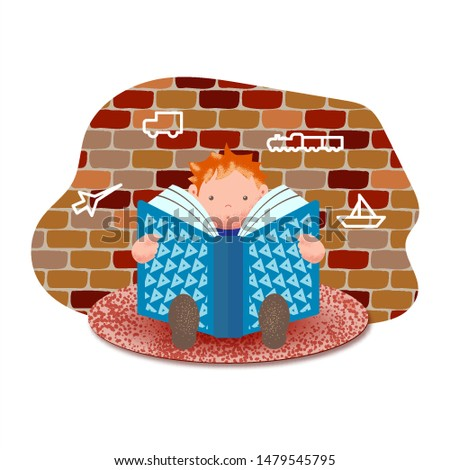 Little boy is reading a book while sitting on a rug against a brick wall with drawings. Home schooling. The child reads. Vector illustration.