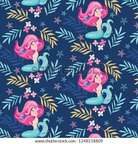 Little cute mermaid seamless pattern vector.