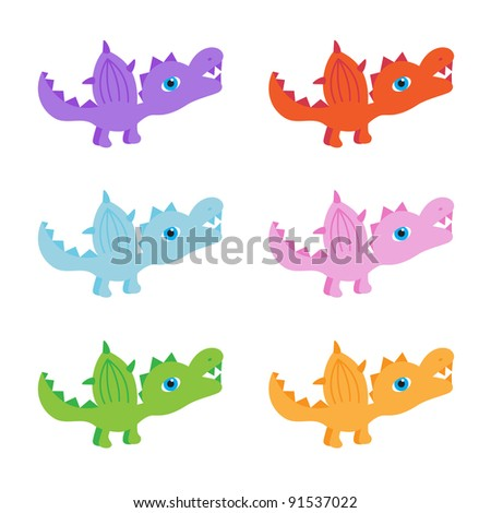 6 little dinosaurs in purple, red, blue, pink, green and orange/baby dinosaurs/one