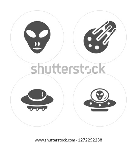 4 Little Extraterrestial, Big UFO, Sputnik, Alien with Aqualung modern icons on round shapes, vector illustration, eps10, trendy icon set.