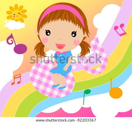 little girl and music