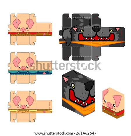 3 little pig paper craft box