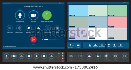 Live broadcast apps Screen interface and icons in social media  application. Music and video app icons.  Photo frame design app post template. Vector mock up illustration