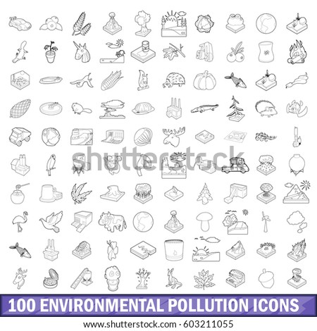 100 livelihood icons set. Outline illustration of 100 livelihood vector icons set for any design