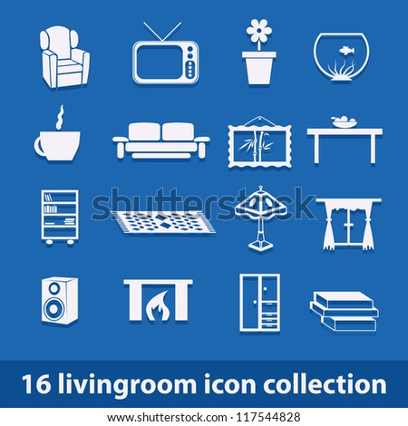 16 living room icons collection