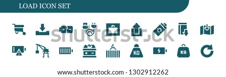 load icon set. 18 filled load icons.  Simple modern icons about  - Wheelbarrow, Download, Battery, Charge, Weight, Upload, Empty battery, Crane, Full battery, Redo