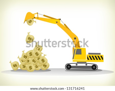 loading money bags with excavator lifting