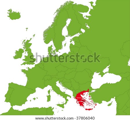 Location of Greece on the Europa continent