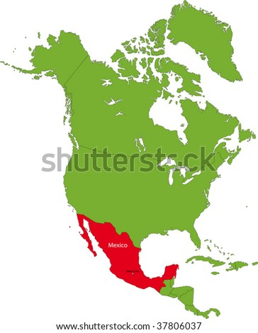 Location of Mexico on the North America continent