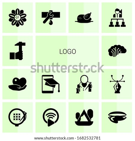 14 logo filled icons set