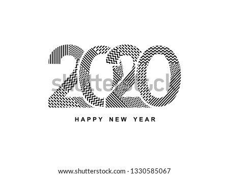 2020 logo Happy New Year. Greeting card with inscription 2020 for your layout flyers and greetings card or christmas themed invitations. Vector Illustration. Isolated on white background.