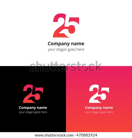 25 logo icon flat and vector design template. Monogram numbers two and five. Logotype twenty-five with gradient color. Creative vision concept logo, elements, sign, symbol for card, brand, banners. Foto stock ©
