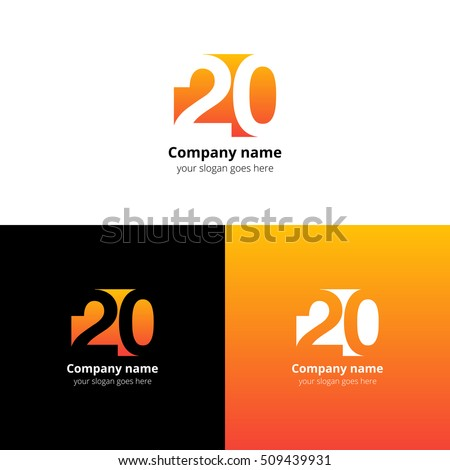 20 logo icon flat and vector