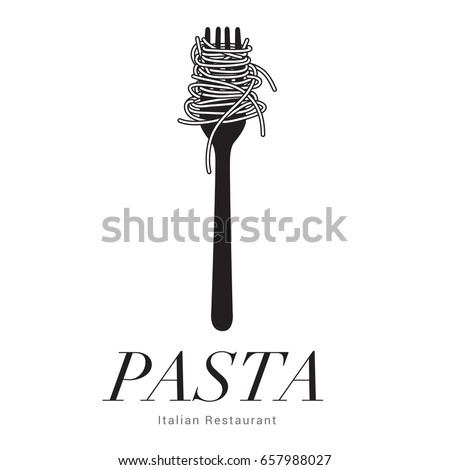 Logo Italian Restaurant, Pasta spaghetti into fork, menu poster, vector illustration