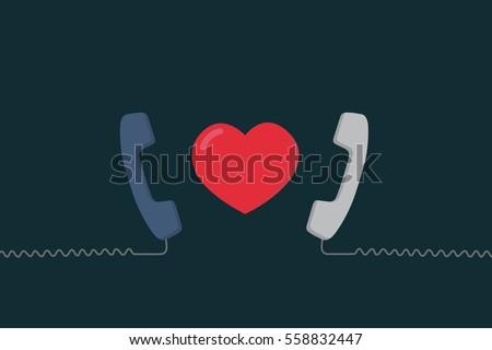Long Distance Relationship Illustration, Love talking, love call